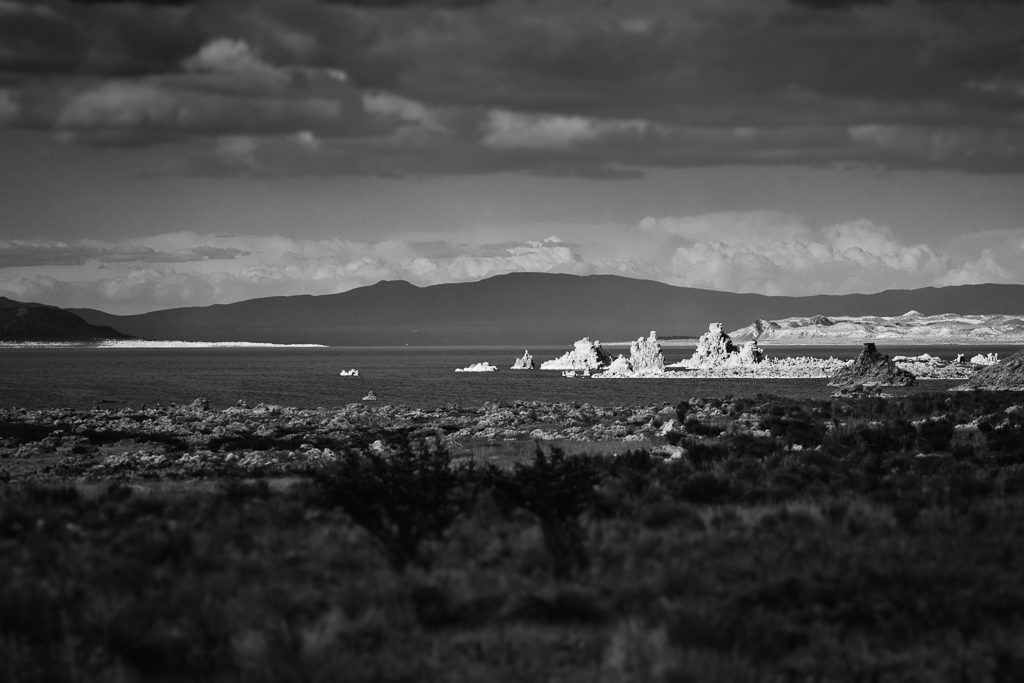 Mono Lake on a moody afternoon. Monochrome, Mono County