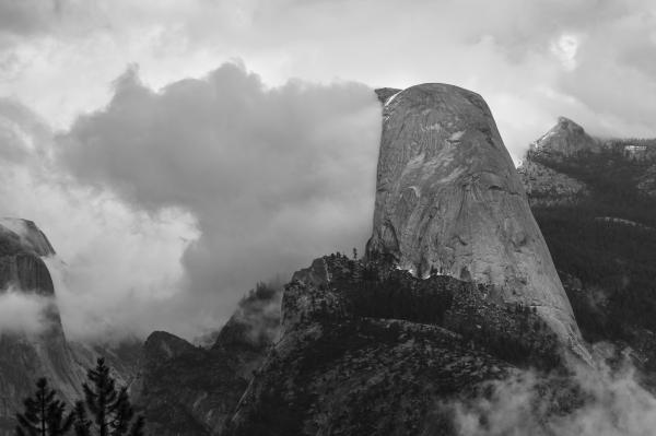 Half Dome, Yosemite National Park, Clouds, Monochrome, Black & White, Sierra Nevada