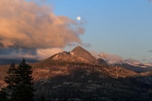 Yosemite National Park, Sunset, Moon, Sierra Nevada