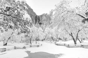 Winter, Bridalveil Falls, Yosemite